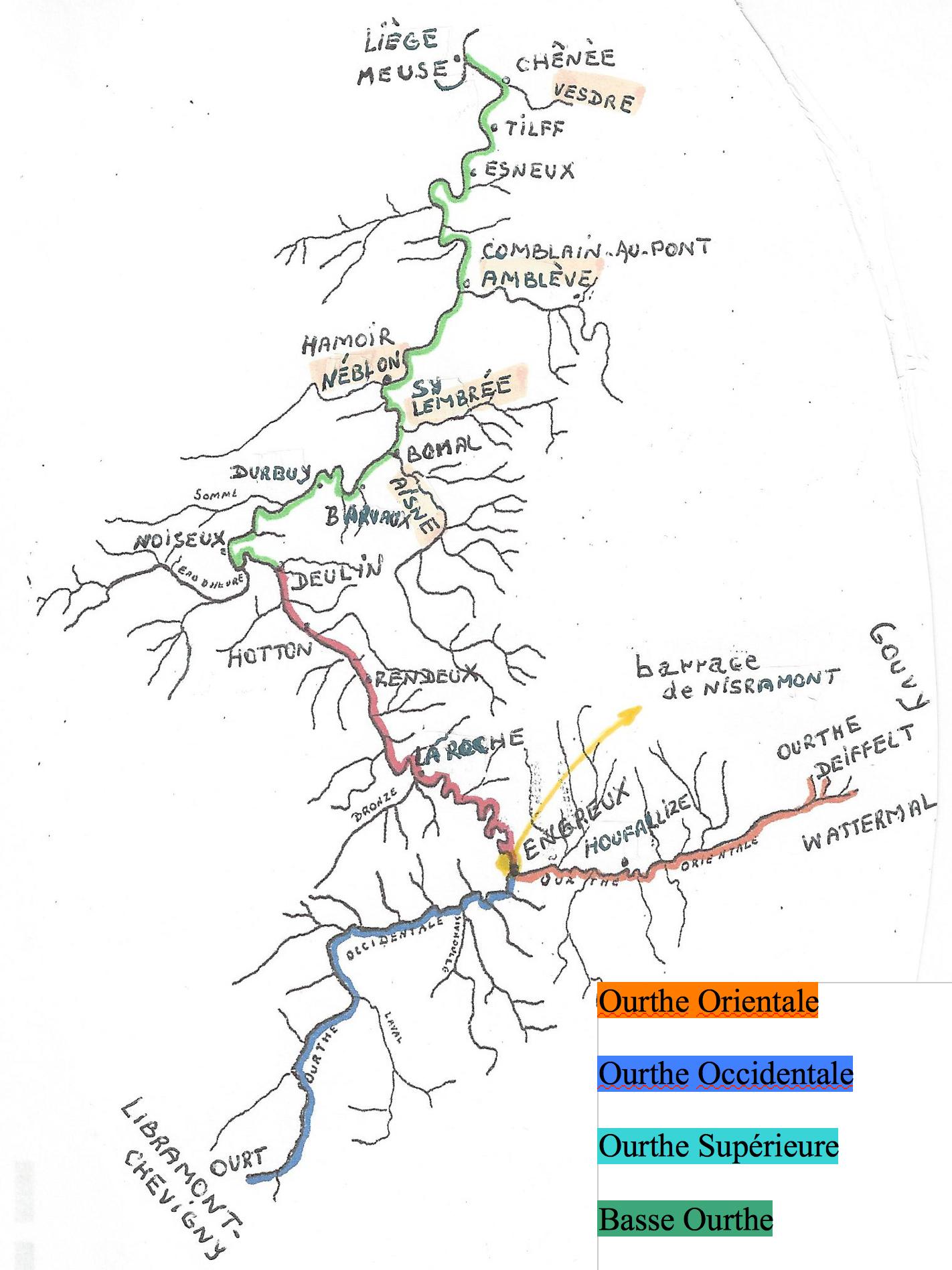 Carte Belgique Hamoir.L Ourthe Les Pecheurs De L Ourthe